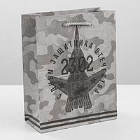 Пакет вертикальный крафтовый «Солдатский долг», M 26 × 30 × 9 см
