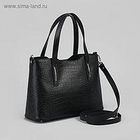 Сумка женская, отдел с перегородкой на молнии, наружный карман, длинный ремень, кайман/шик, цвет чёрный