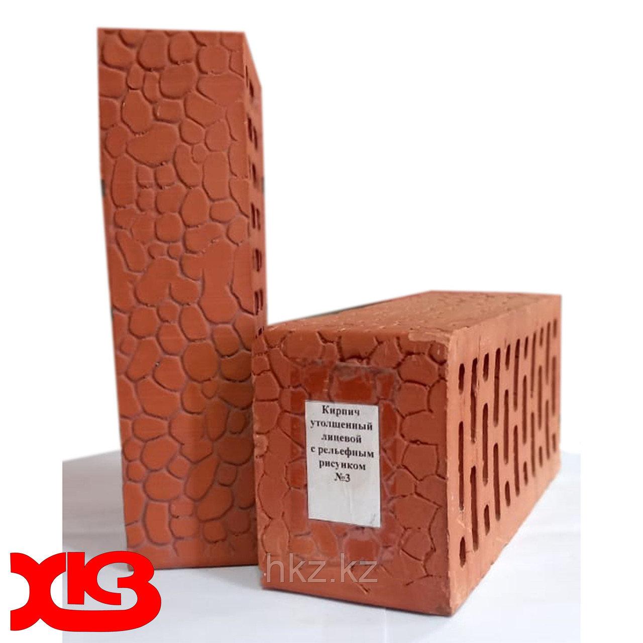 Лицевой кирпич красный керамический одинарный марка М-150 с рисунком №3