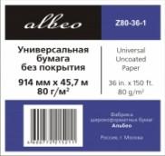 ALBEO Z80-36-1 Бумага универсальная, 80г/м2, 0.914x45.7м, втулка 50.8мм