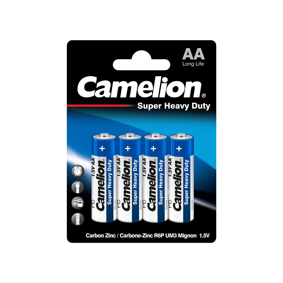 Батарейка, CAMELION, R6P-BP4B, Super Heavy Duty, AA, 1.5V, 1050mAh, 4 шт., Блистер