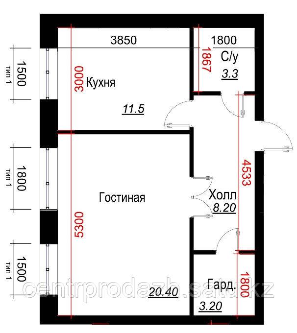 1 комнатная квартира в ЖК  Arai Apartments 46.6 м²