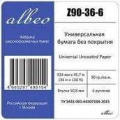 ALBEO Z90-36-6 Бумага универсальная, 90г/м2, 0.914x45.7м, втулка 50.8мм, мультипак, 6 рулонов