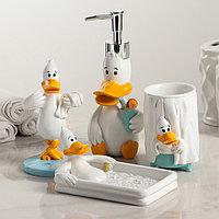 Набор аксессуаров для ванной комнаты «Утиные истории», 4 предмета (дозатор, мыльница, стакан, подставка для