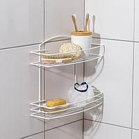 Полка для ванной прямая 2-х ярусная, 35×13×27 см, цвет белый