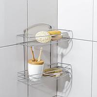 Полка для ванной прямая 2-х ярусная, 35×13×27 см, цвет хром