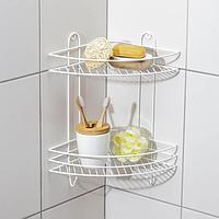Полка для ванной угловая 2-х ярусная, 23×23×41,5 см, цвет белый
