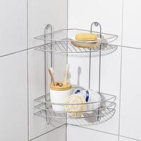 Полка для ванной угловая 2-х ярусная, 23×23×41,5 см, цвет хром