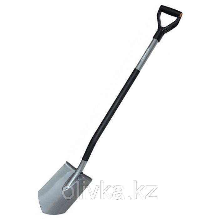 Лопата штыковая, острая, стальной черенок, с ручкой