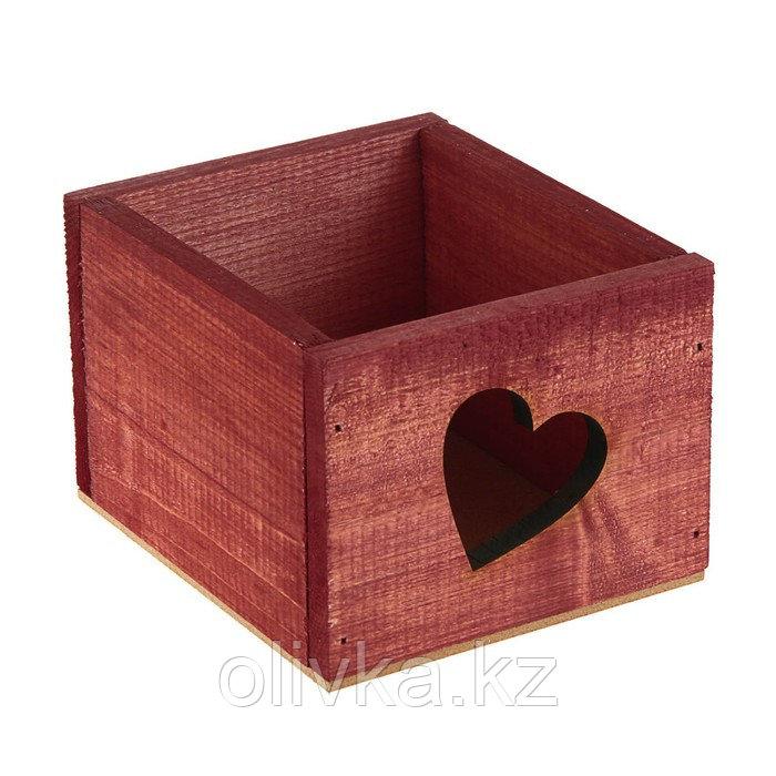 "Кашпо деревянное 14.5×12.5×9 см Элегант ""Сердце"", красное дерево Дарим Красиво"