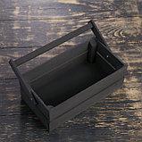 """Кашпо деревянное 24.5×13.5×9 см """"Двушка Лайт"""", двухреечное, чёрный Дарим Красиво, фото 2"""