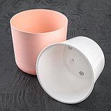 Кашпо со вставкой «Лион», 2 л, цвет розовый-белый, фото 3