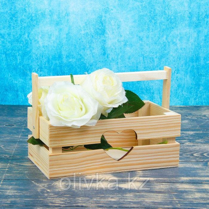 "Кашпо деревянное 24.5×13.5×9 см ""Двушка Лайт"" реечное, сердце Дарим Красиво"