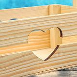 "Кашпо деревянное 24.5×13.5×9 см ""Двушка Лайт"" реечное, сердце Дарим Красиво, фото 3"