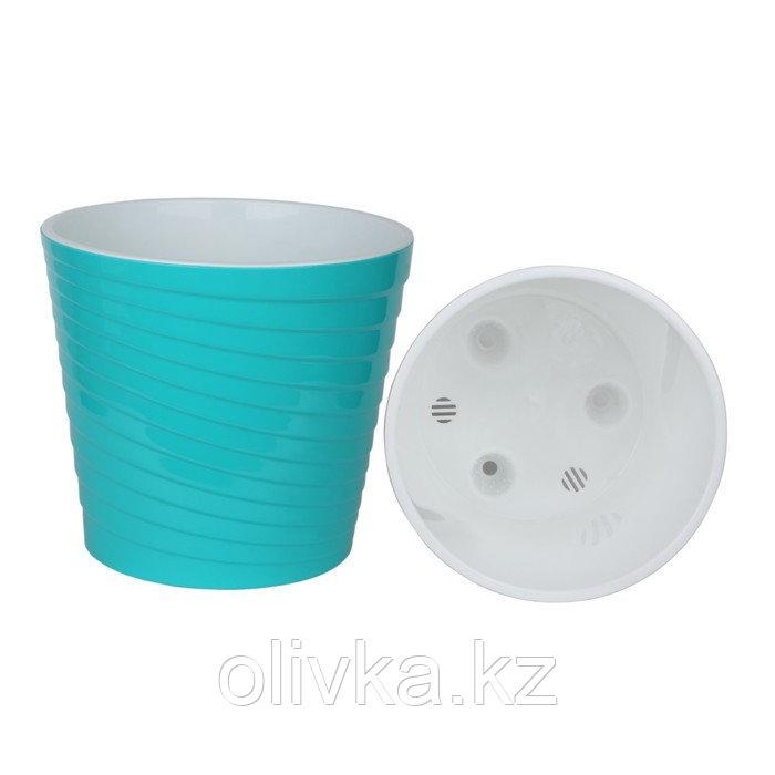 Пластиковый горшок с вкладкой «Эйс», 2,7 л, d=17 см, цвет бирюза