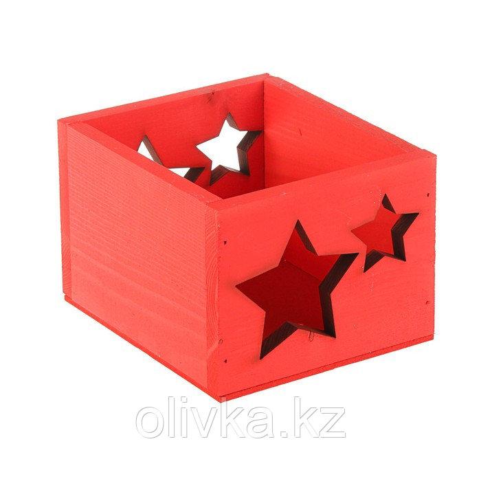 """Кашпо деревянное 14.5×12.5×9 см Элегант """"Звёзды"""", красный Дарим Красиво"""