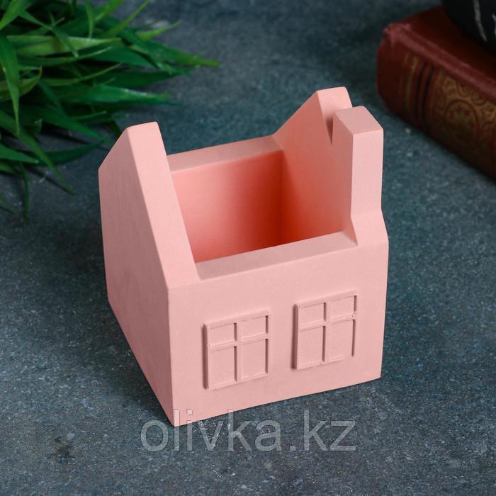 Кашпо домик, розовое, 7 х 7 х 8,5 см