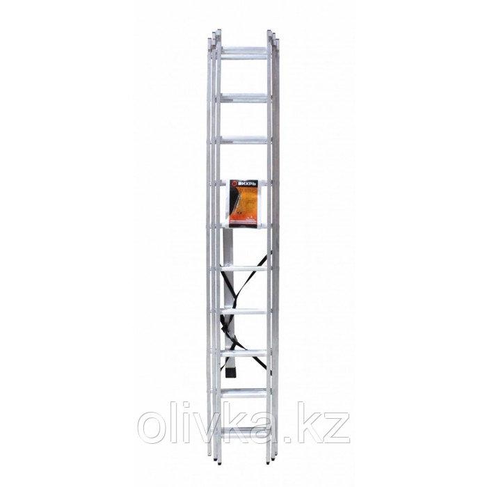 """Лестница """"Вихрь"""" ЛА 3х10, алюминиевая, трехсекционная, рабочая высота 6.31 м"""