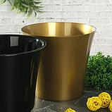 Кашпо со вставкой «Арте», 2 л, цвет золото-чёрный, фото 2