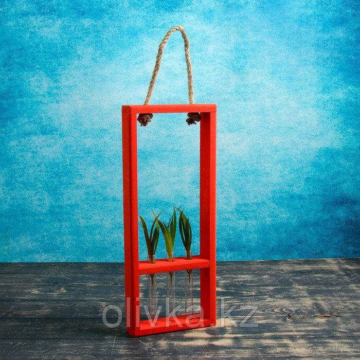 """Кашпо деревянное 18×5×40 см с 3 колбами 15 см """"Рамка Экстра"""", ручка, красный Дарим Красиво"""