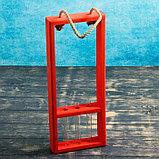 """Кашпо деревянное 18×5×40 см с 3 колбами 15 см """"Рамка Экстра"""", ручка, красный Дарим Красиво, фото 2"""