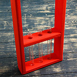 """Кашпо деревянное 18×5×40 см с 3 колбами 15 см """"Рамка Экстра"""", ручка, красный Дарим Красиво, фото 3"""