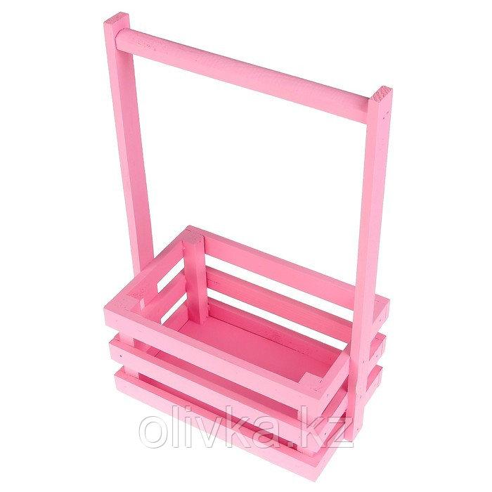 """Кашпо деревянное 20×13×34 см """"Classic"""", трёхреечное, с ручкой, розовый светлый Дарим Красиво"""