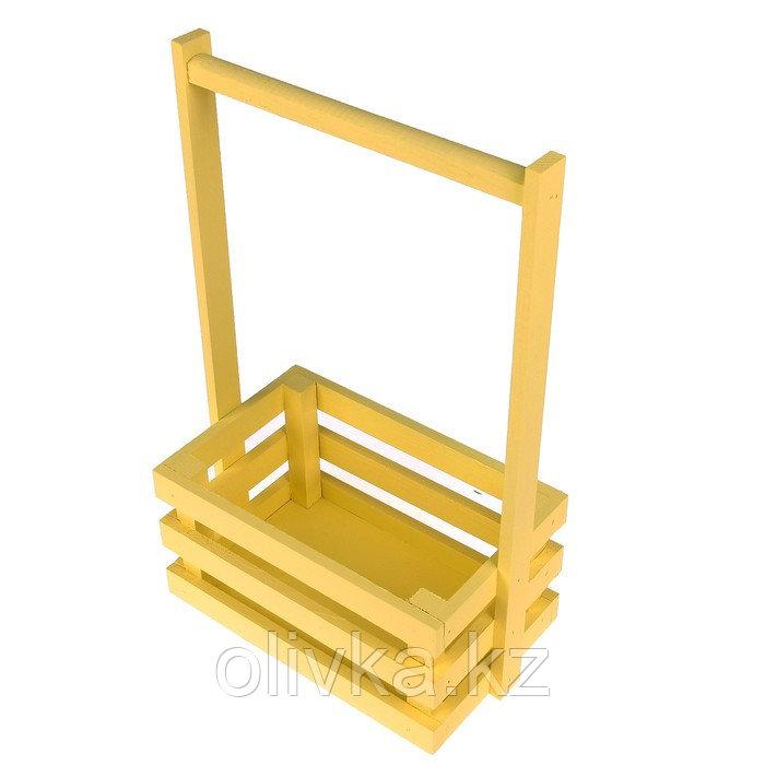 """Кашпо деревянное 20×13×34 см """"Classic"""", трёхреечное, с ручкой, жёлтый светлый Дарим Красиво"""