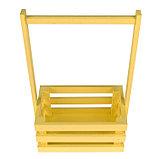 """Кашпо деревянное 20×13×34 см """"Classic"""", трёхреечное, с ручкой, жёлтый светлый Дарим Красиво, фото 2"""