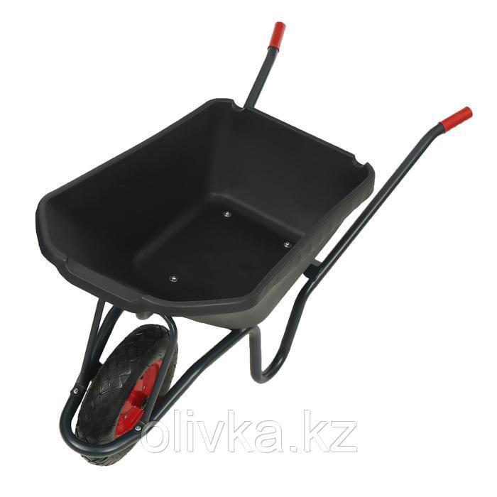 Тачка садово-строительная, одноколёсная: груз/п 150 кг, объём 115 л, пневмоколесо, корыто из пластика, чёрная
