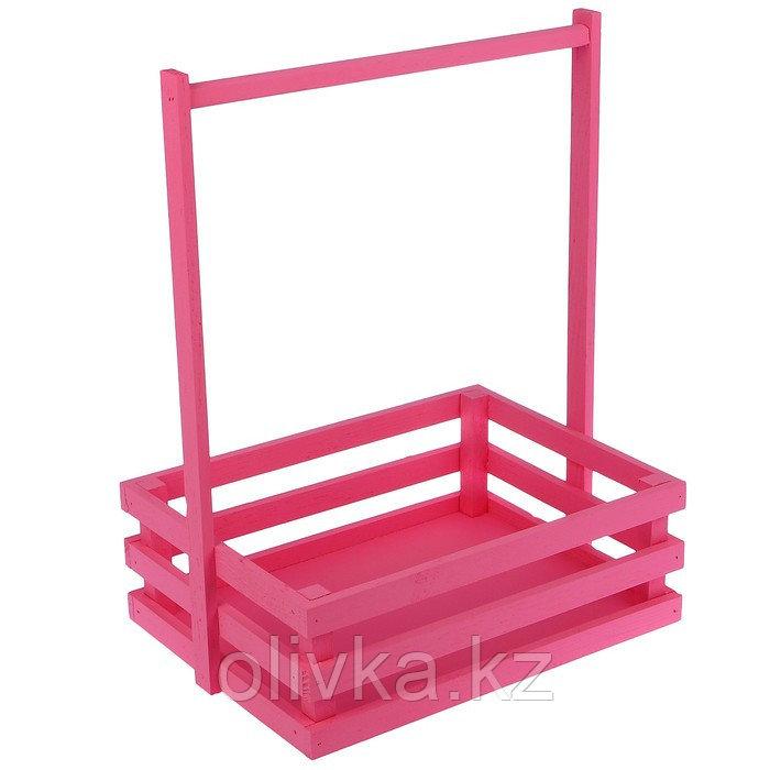 """Кашпо деревянное 30×23×40 см """"Classic"""", трёхреечное, с ручкой, розовый светлый Дарим Красиво"""