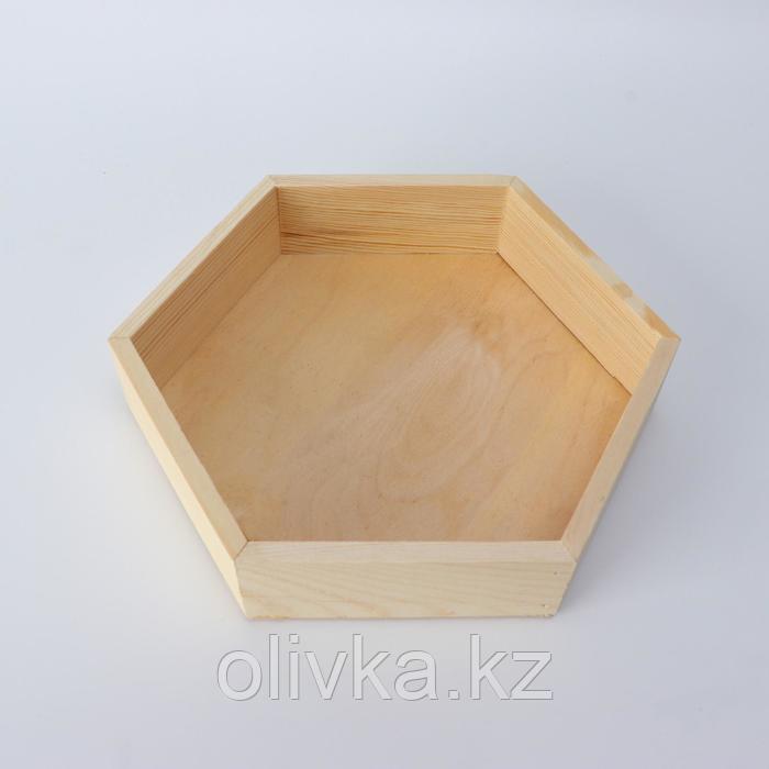 """Кашпо деревянное 24×4.5 см """"Шестигранник"""" подарочное, натуральный"""