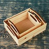 """Набор кашпо деревянных подарочных """"Эталон"""", 2 в 1, ручки вырезы боковые, натуральный, фото 2"""