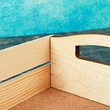 """Набор кашпо деревянных подарочных """"Эталон"""", 2 в 1, ручки вырезы боковые, натуральный, фото 3"""