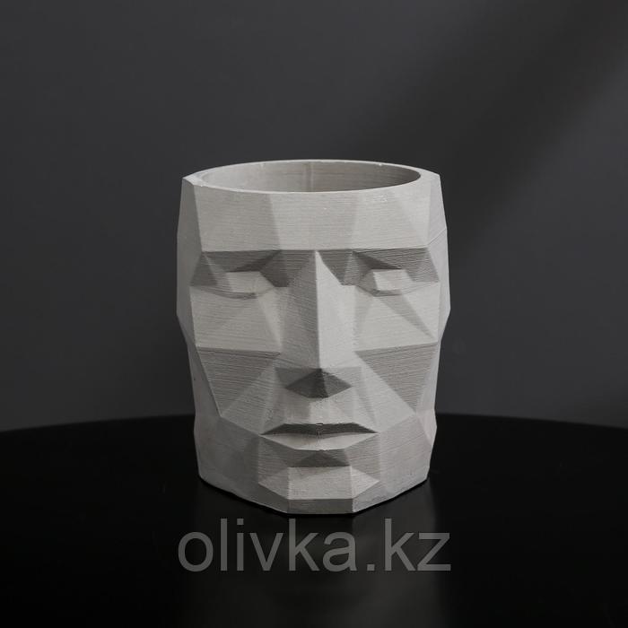 Кашпо полигональное из гипса «Голова», цвет серый, 7.5 × 9 см