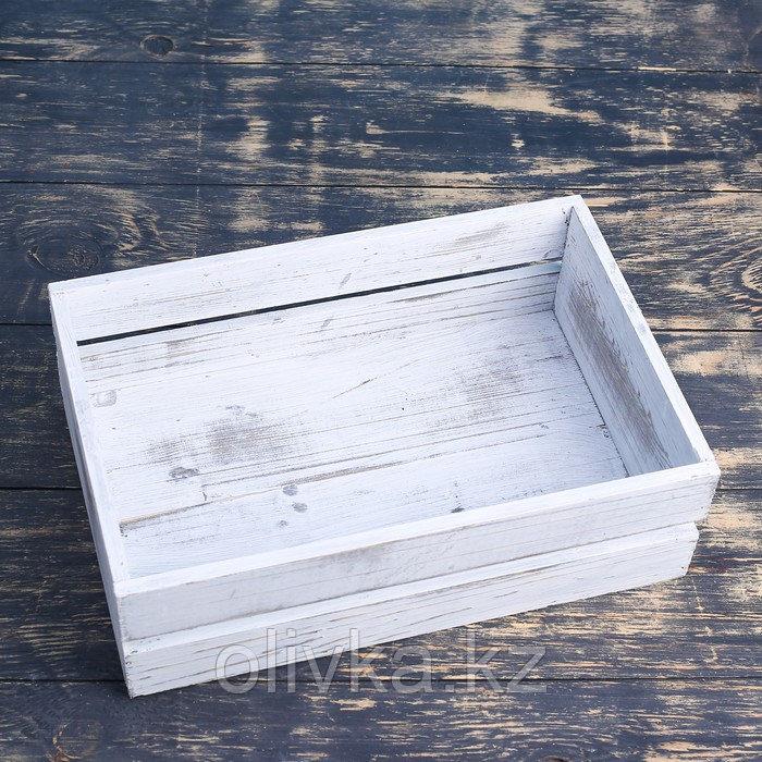 Ящик деревянный 30×20×10 см подарочный с реечной крышкой, состаренный