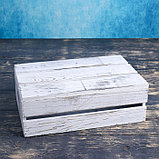 Ящик деревянный 30×20×10 см подарочный с реечной крышкой, состаренный, фото 2