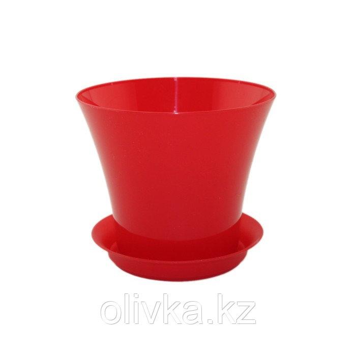 Пластиковый горшок с поддоном «Сити», цвет красный