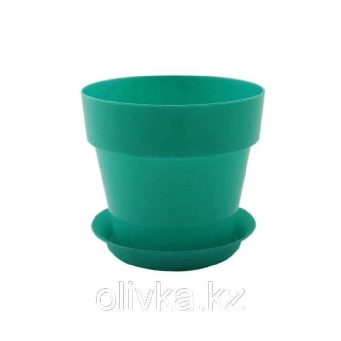 Пластиковый горшок с поддоном «Протея», цвет бирюзовый