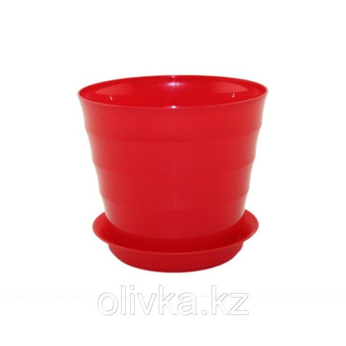 Пластиковый горшок с поддоном «Лаура», цвет красный