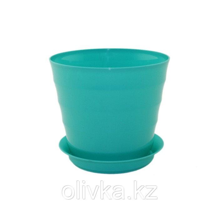 Пластиковый горшок с поддоном «Лаура», цвет бирюзовый