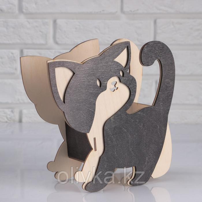"""Кашпо деревянное 18×10×20 см """"Котёнок черношёрстный"""""""