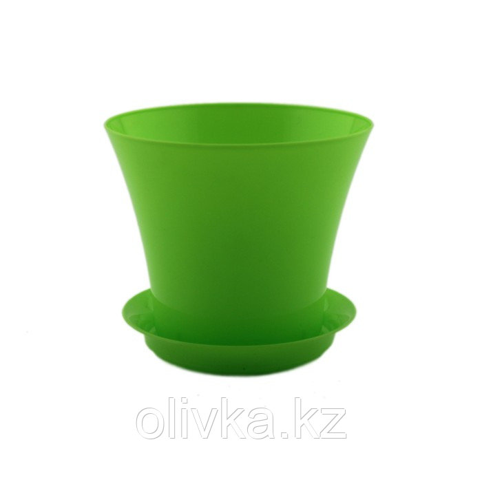 Пластиковый горшок с поддоном «Сити», цвет лайм