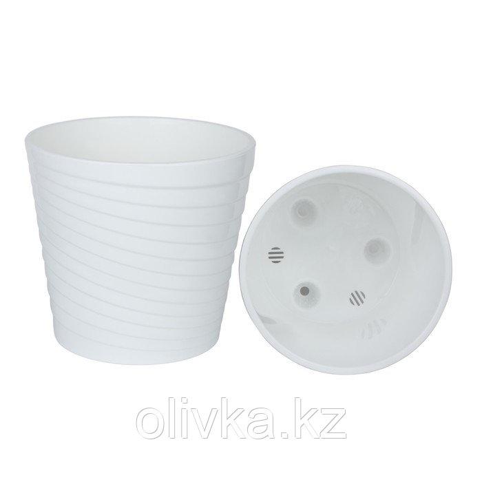 Пластиковый горшок с вкладкой «Эйс», 3,8 л, d=19 см, цвет белый