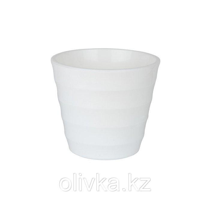Пластиковый горшок с вкладкой «Лаура», цвет белый