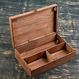 Подарочный ящик 34×21.5×10.5 см деревянный 3 отдела, с крышкой, светло-коричневый, фото 2