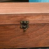 Подарочный ящик 34×21.5×10.5 см деревянный 3 отдела, с крышкой, светло-коричневый, фото 4