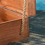 Подарочный ящик 34×21.5×10.5 см деревянный 3 отдела, с крышкой, светло-коричневый, фото 5