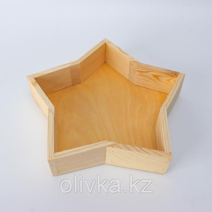 """Кашпо деревянное 24×4.5 см """"Звезда"""" подарочное, натуральный"""