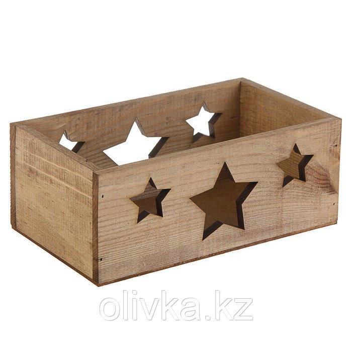 """Кашпо деревянное 24.5×14.5×9 см Элегант """"Звёзды"""", венге Дарим Красиво"""